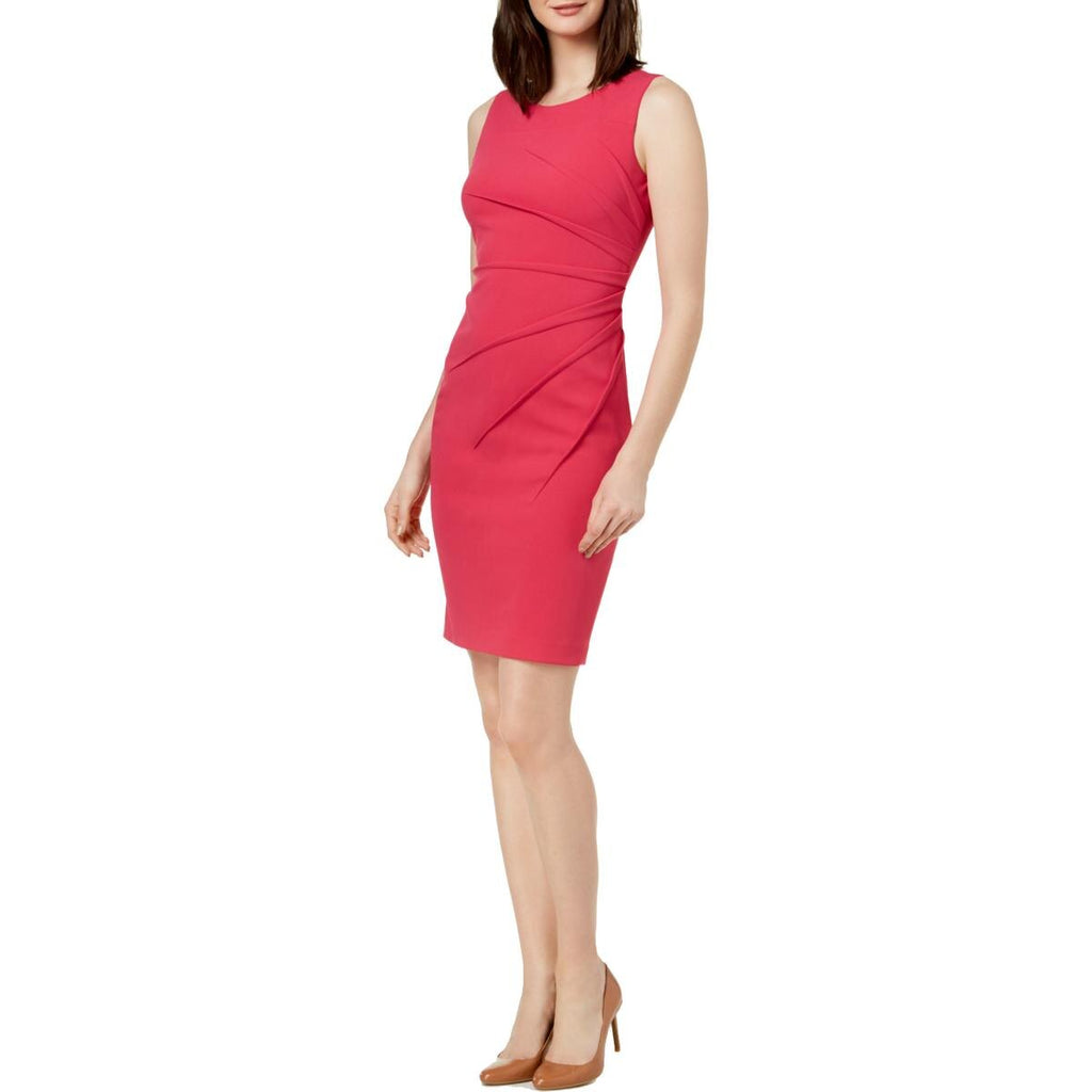 Yieldings Discount Clothing Store's Ruched Sleeveless Wear to Work Dress by Calvin Klein in Hibiscus