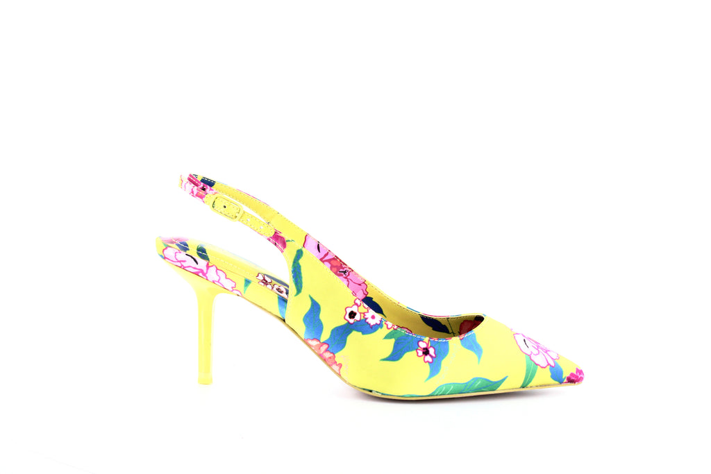 Yieldings Discount Shoes Store's Criwiel Slingback Kitten Pumps by Aldo in Yellow Floral Satin