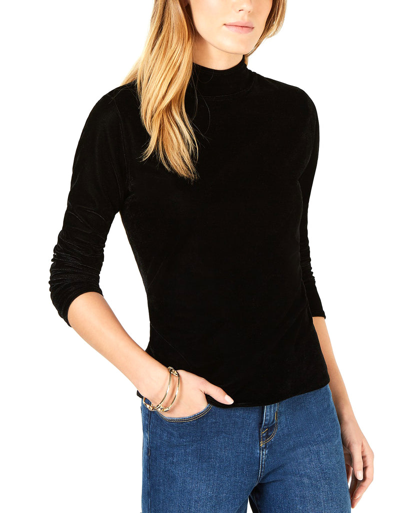 Yieldings Discount Clothing Store's Velvet Mock-Neck Sweater by Bar III in Deep Black