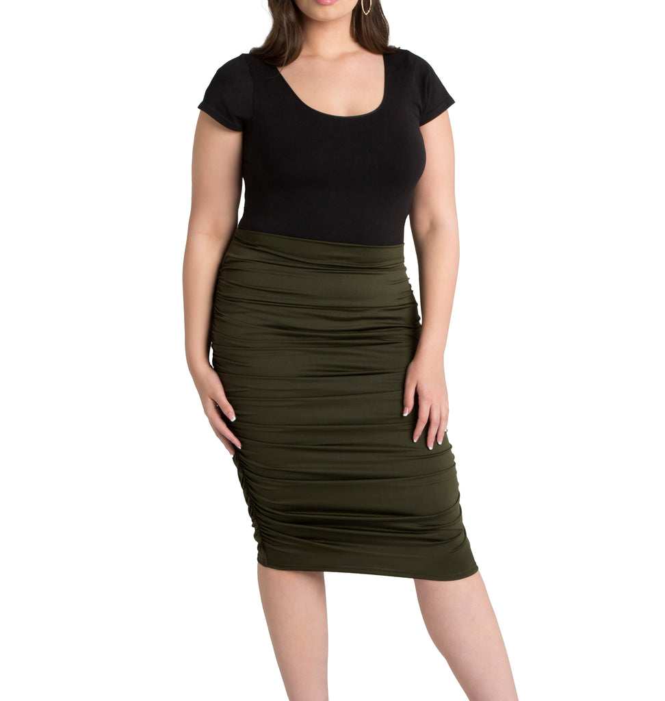 Yieldings Discount Clothing Store's Helena Ruched Skirt by Kiyonna in Olive