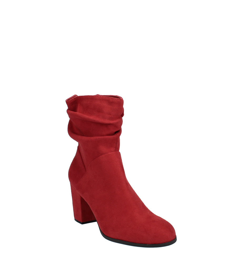 Yieldings Discount Shoes Store's Midory Block-Heel Booties by Material Girl in Red