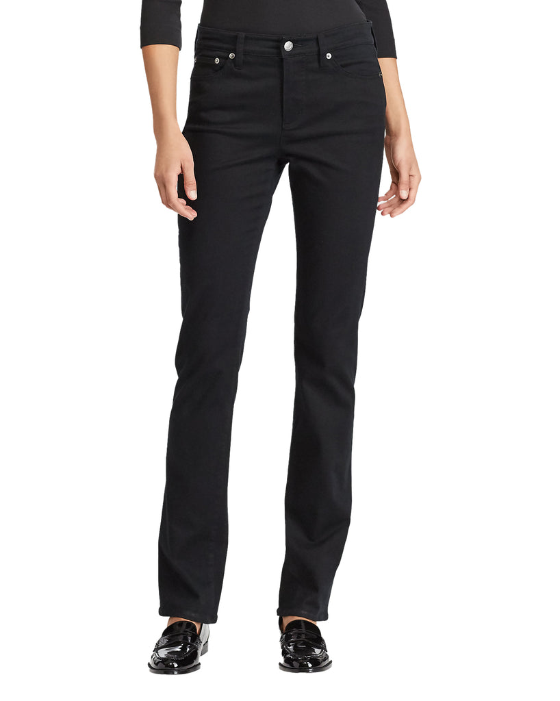 Yieldings Discount Clothing Store's Premier Straight Curvy Jeans by Lauren by Ralph Lauren in Black
