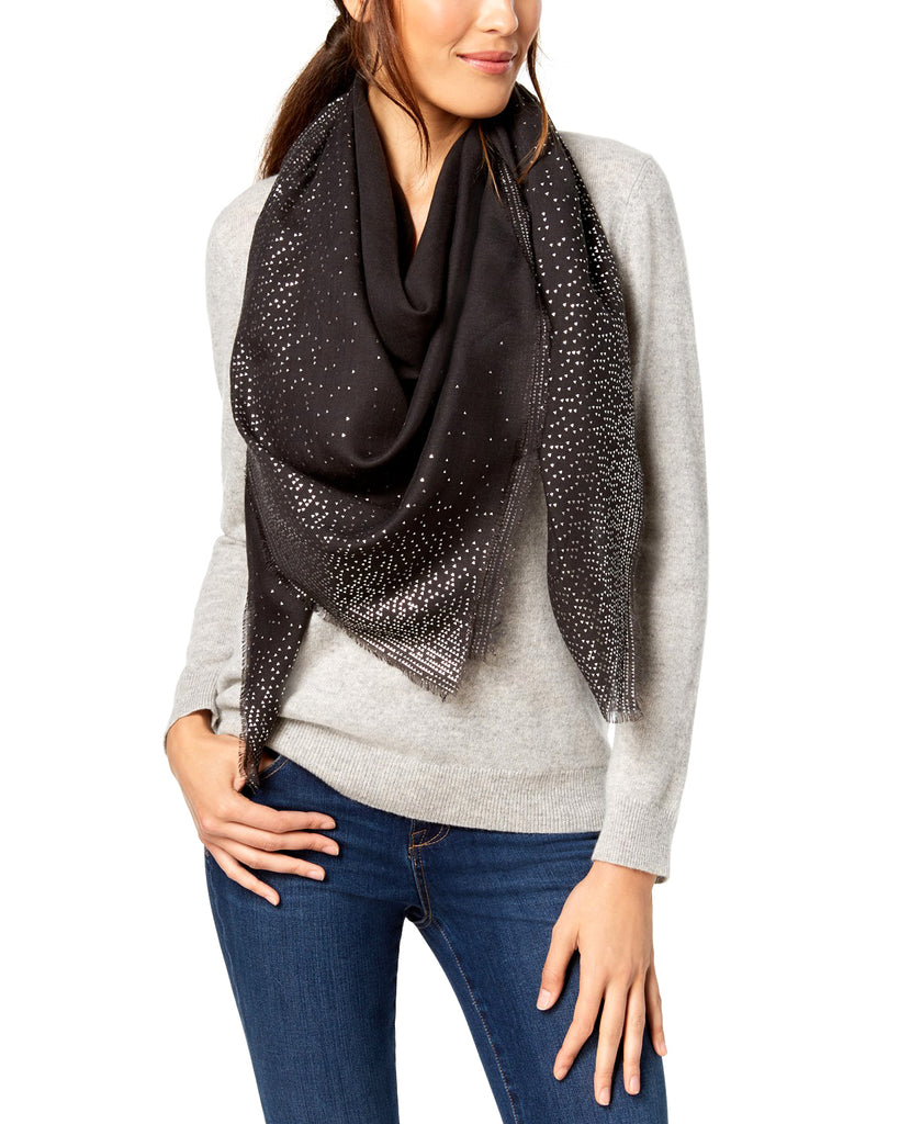Yieldings Discount Accessories Store's Ombre Metallic Foil Oversized Squared Scarf by INC in Black