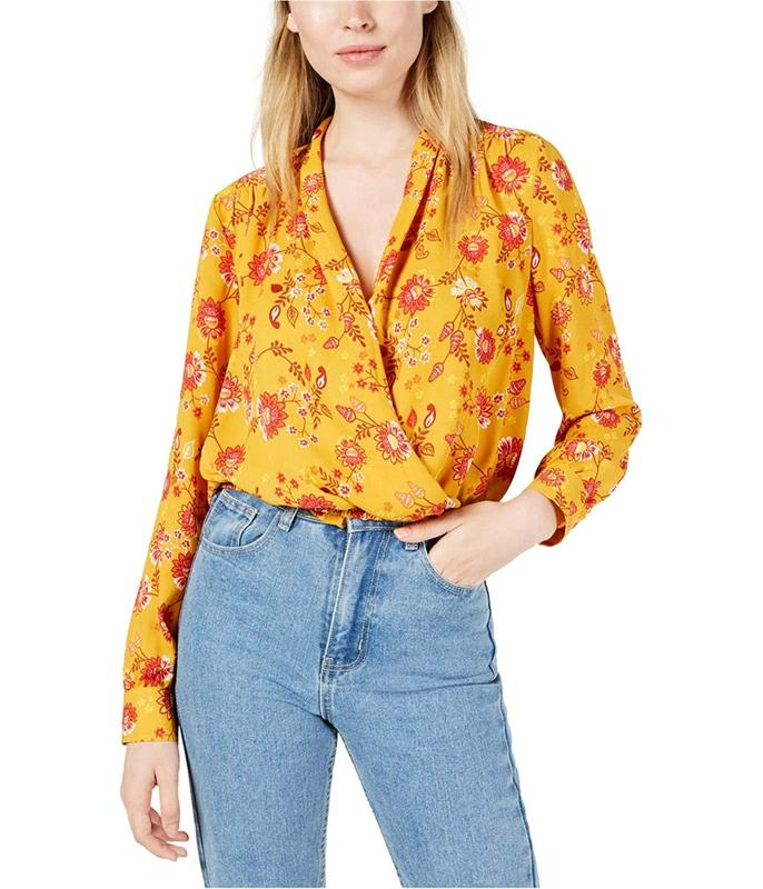 Yieldings Discount Clothing Store's NYC Floral-Print Faux-Wrap Top by Project 28 in Yellow