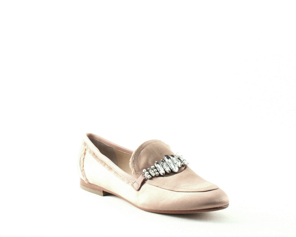 Yieldings Discount Shoes Store's Weven 2 Embellished Satin Loafers by Ivanka Trump in Light Pink Satin