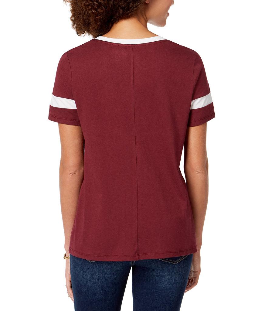 Yieldings Discount Clothing Store's Embroidered Varsity-Graphic T-Shirt by Carbon Copy in Burgundy Natural