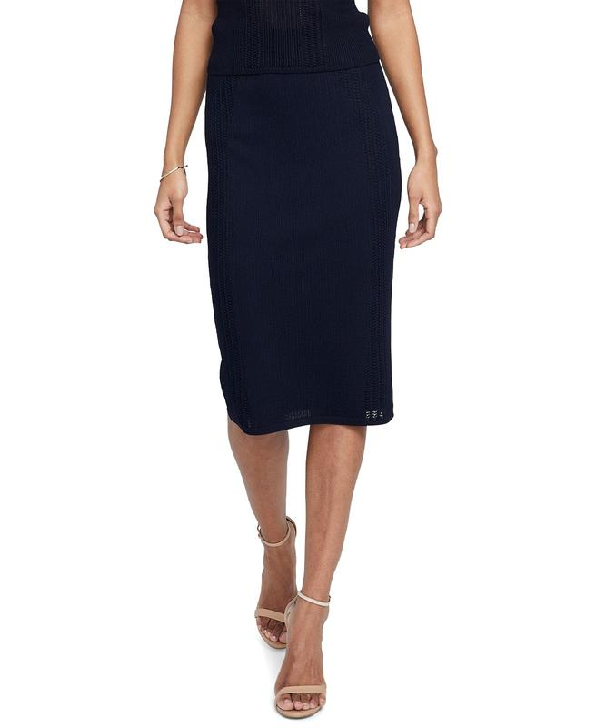 Yieldings Discount Clothing Store's Mixed Stitch A-Line Skirt by RACHEL Rachel Roy in True Navy