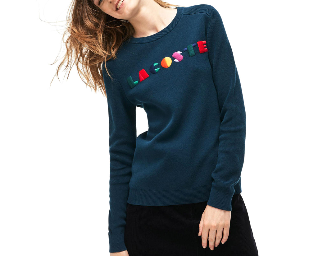 Yieldings Discount Clothing Store's Embroidered Graphic Sweater by Lacoste in Azurite