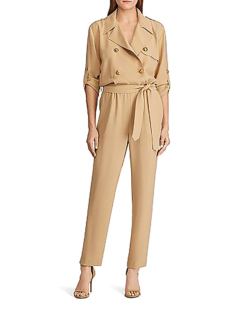 Yieldings Discount Clothing Store's Double-Breasted Belted Jumpsuit by Lauren by Ralph Lauren in Khaki