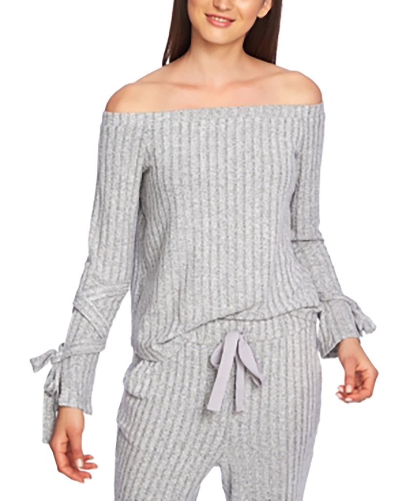 Yieldings Discount Clothing Store's Cozy Off-the-Shoulder Tie Sleeve Top by 1.State in Light Heather Grey