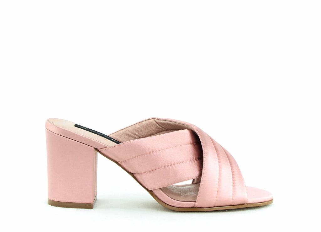 Yieldings Discount Shoes Store's Zada Slide-On Block Heels by STEVEN By Steve Madden in Blush Satin