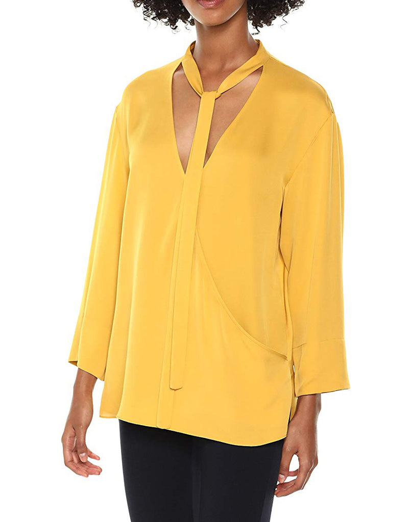 Yieldings Discount Clothing Store's Relaxed Wrap V Top by Theory in Pollen