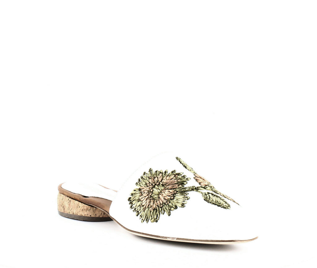 Yieldings Discount Shoes Store's Lucia Embroidered Mules by Andre Assous in White