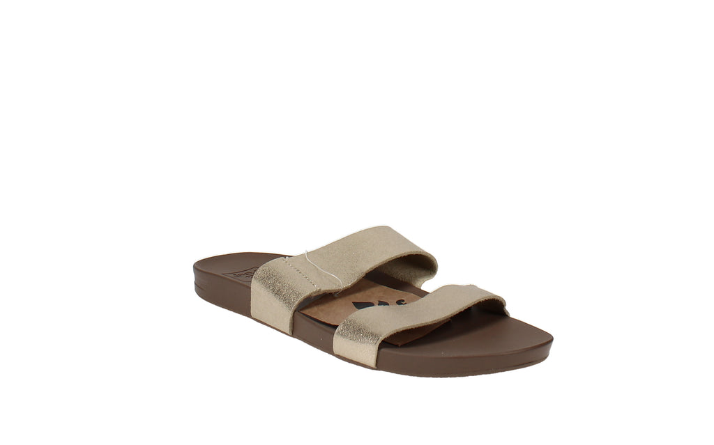 Yieldings Discount Shoes Store's Cushion Bounce Vista Slide Sandals by Reef in Champagne