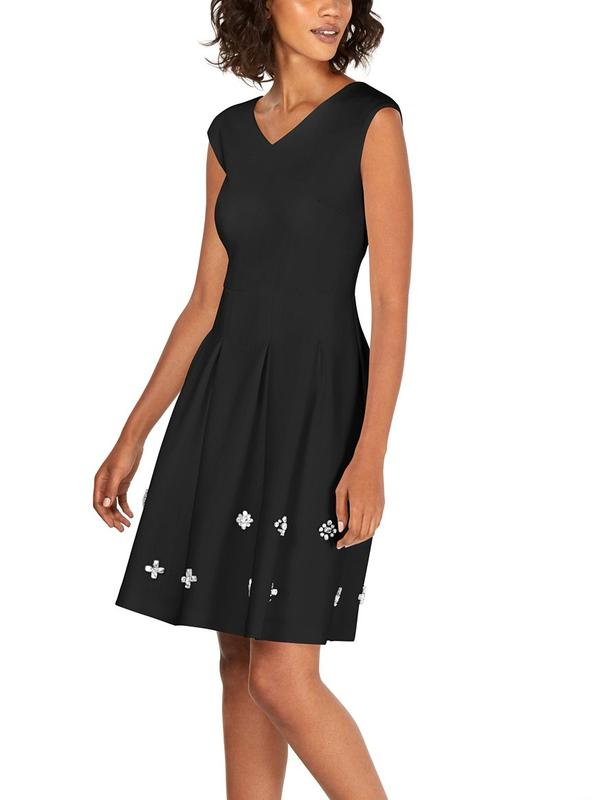 Yieldings Discount Clothing Store's Embellished A-Line Dress by Calvin Klein in Black