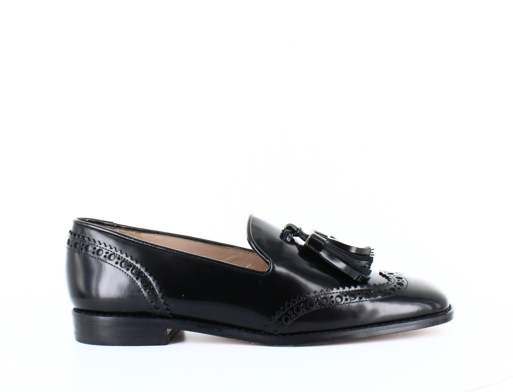 Yieldings Discount Shoes Store's Boything Tassle Loafers by Stuart Weitzman in Jet Mirror