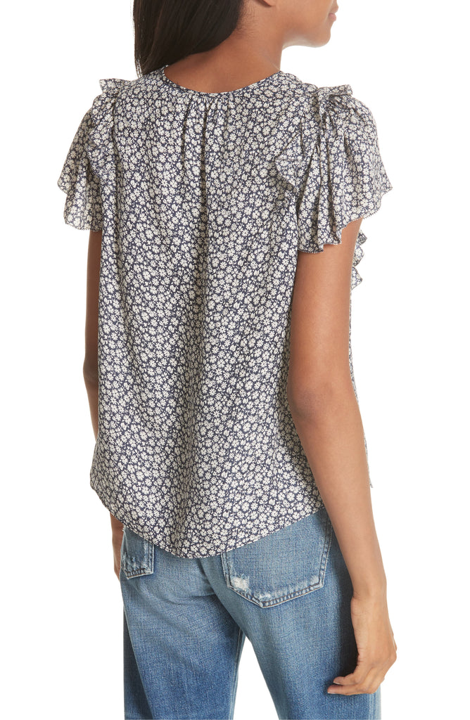 Yieldings Discount Clothing Store's Lauren Ruffled Floral Silk Top by Rebecca Taylor in Blueberry Combo