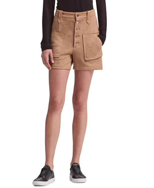 Yieldings Discount Clothing Store's Faux-Suede Shorts by DKNY in Cognac