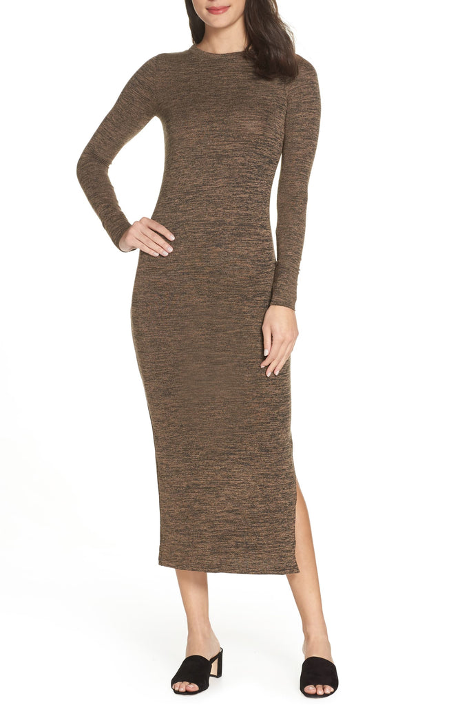 Yieldings Discount Clothing Store's Sweeter Sweater Maxi Dress by French Connection in Camel/Black