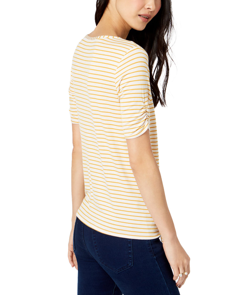 Yieldings Discount Clothing Store's Varsity Knit 3/4 Sleeve Tie Front Top by Maison Jules in Gold Poppy
