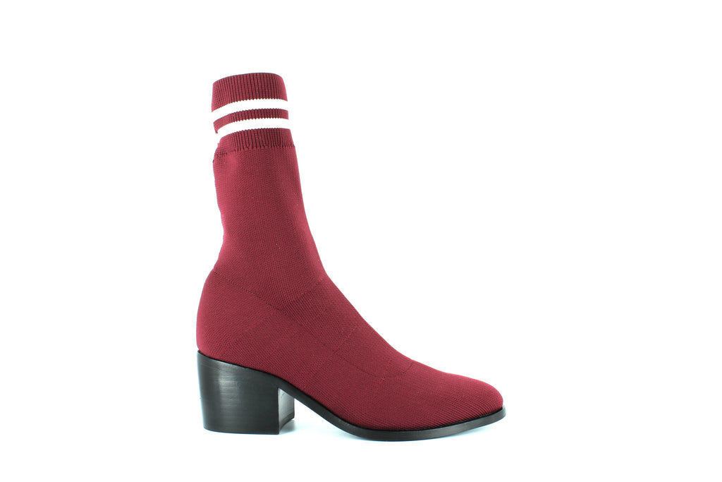 Yieldings Discount Shoes Store's Sock Knit Block-Heel Booties by Opening Ceremony in Burgundy