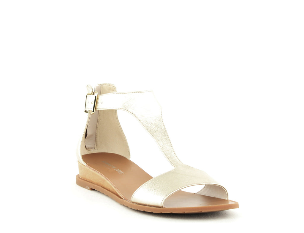 Yieldings Discount Shoes Store's Judd Wedge Sandals by Kenneth Cole in Soft Gold