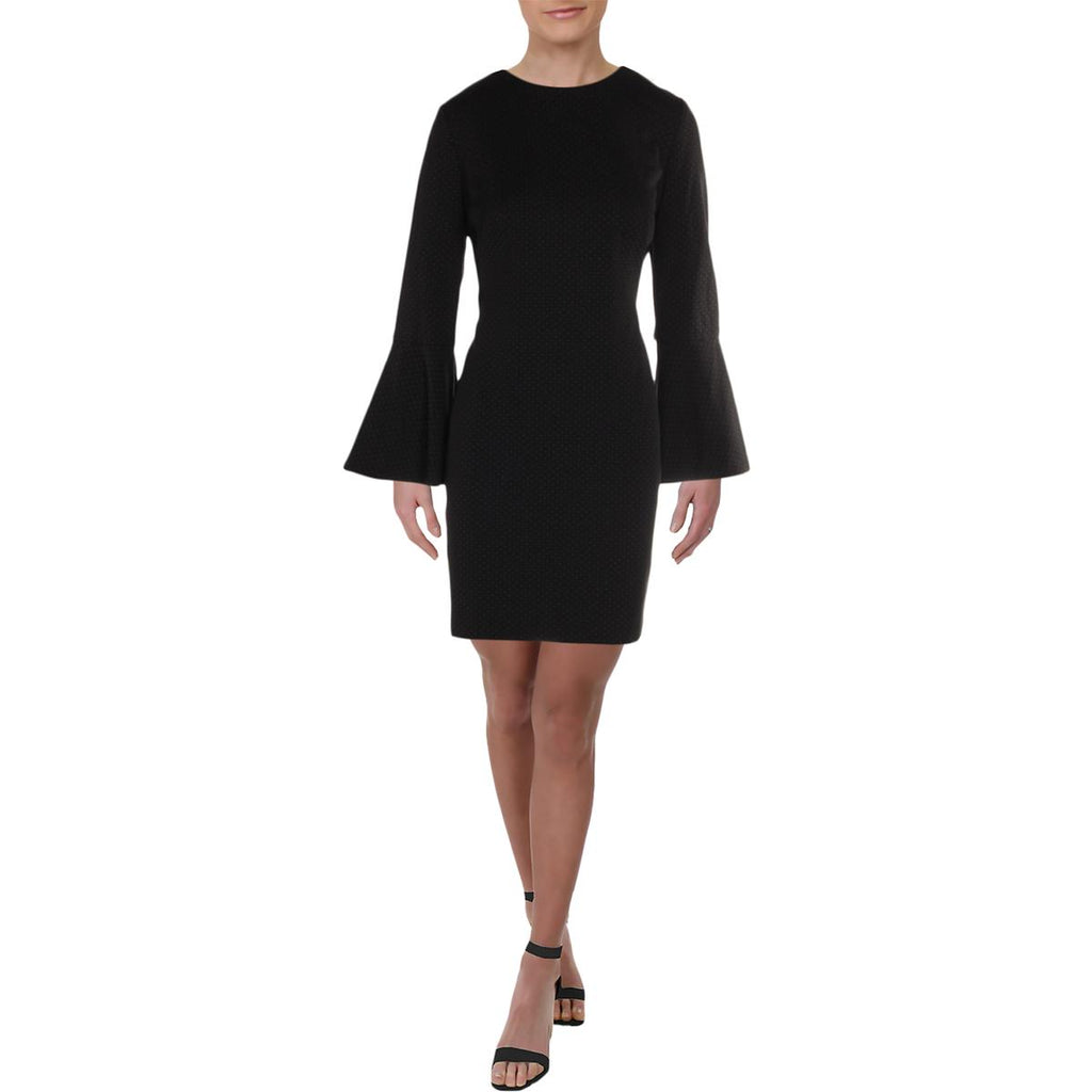 Yieldings Discount Clothing Store's Polka Dot Bell Sleeves Dress by Lauren by Ralph Lauren in Black