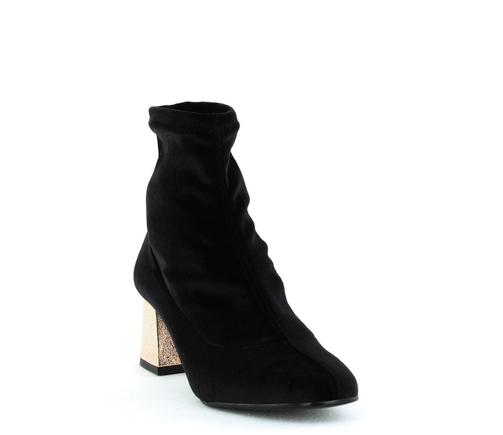 Yieldings Discount Shoes Store's Gia Stretch Sock Block Heel Boots by ASKA in Black