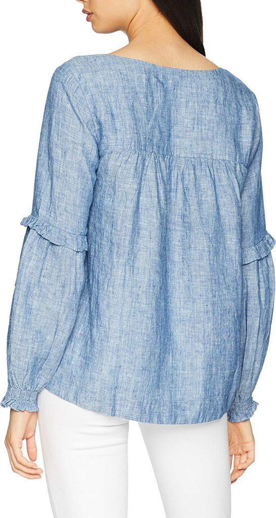 Yieldings Discount Clothing Store's Lila Cotton Ruffled Lace-Up Top by Sanctuary in Raven Wash