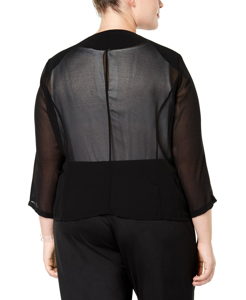 Yieldings Discount Clothing Store's Sheer Padded Cardigan Top by Calvin Klein in Black