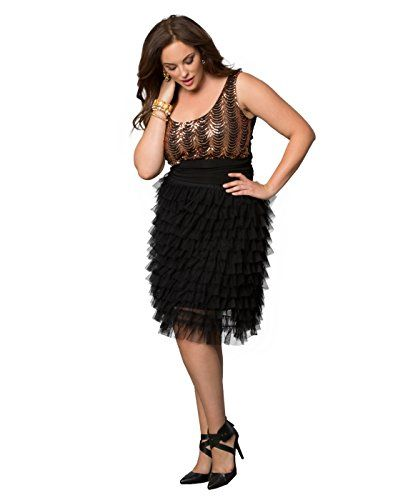 Yieldings Discount Clothing Store's Tiered Delight Tulle Skirt by Kiyonna in Black