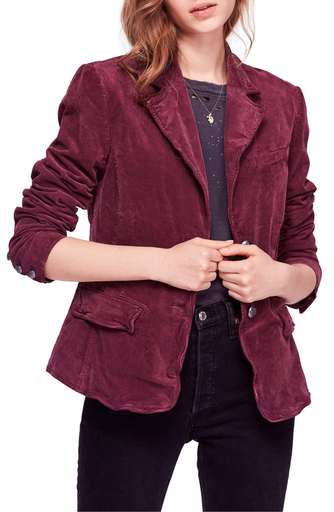 Yieldings Discount Clothing Store's Byron Two-Button Corduroy Blazer by Free People in Mulberry