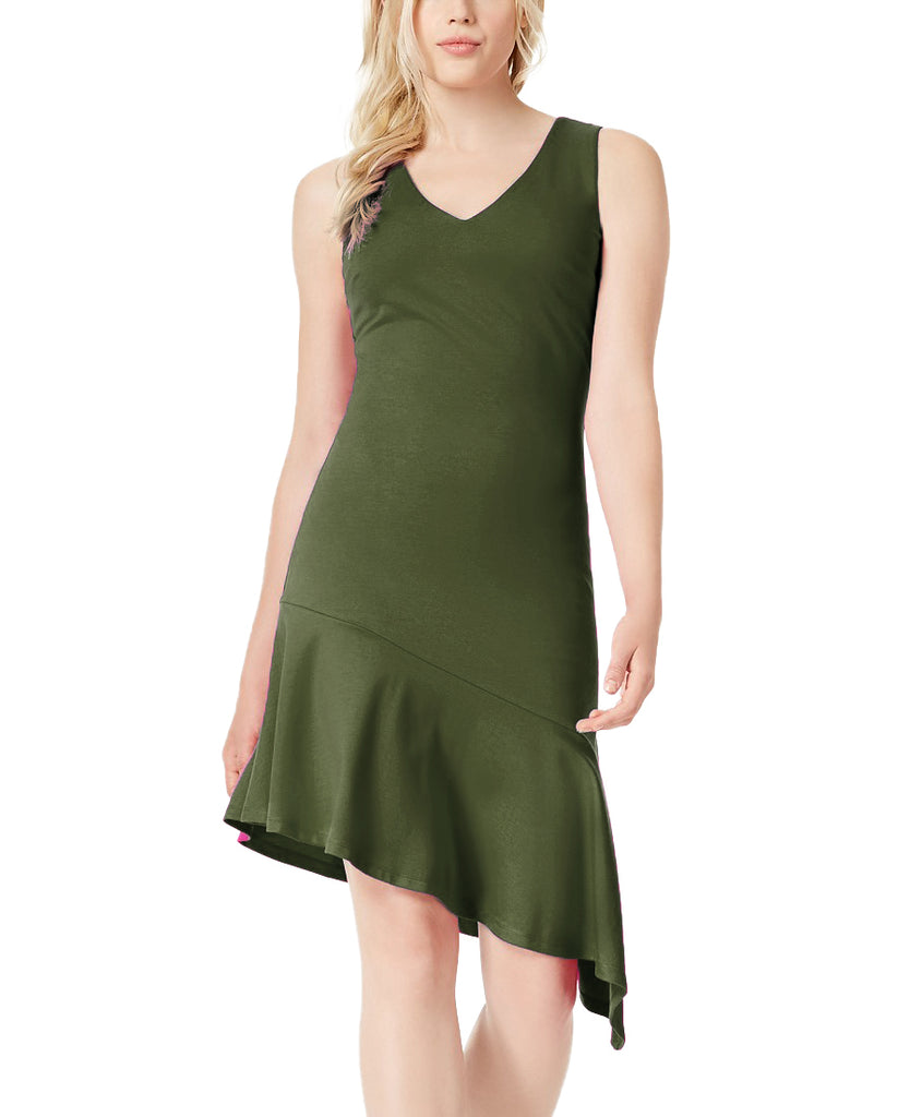 Yieldings Discount Clothing Store's Boho Sunset Sleeveless Asymmetrical Dress by Bar III in Native Green
