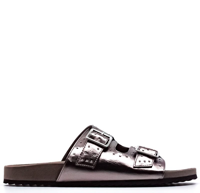 Yieldings Discount Shoes Store's Mealissa Flat Sandals by Bar III in Pewter
