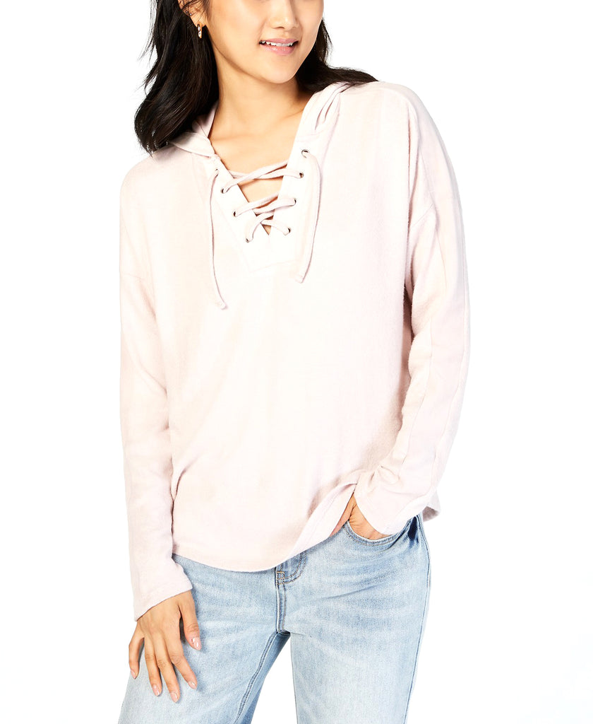 Yieldings Discount Clothing Store's Velvet Lace-Up Hooded Top by Hippie Rose in Rose Combo