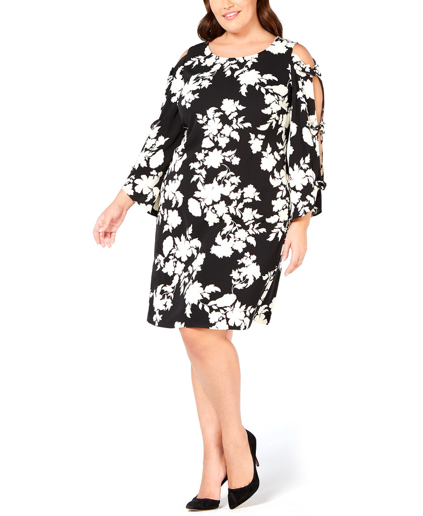Yieldings Discount Clothing Store's Printed Bow-Sleeve Dress by MSK in Black/White