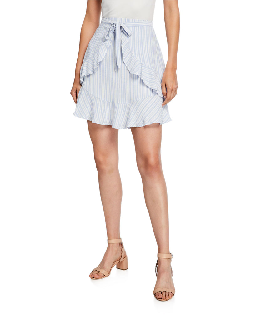 Yieldings Discount Clothing Store's Jacquard Stripe Ruffle Skirt by CeCe in Blue Haze