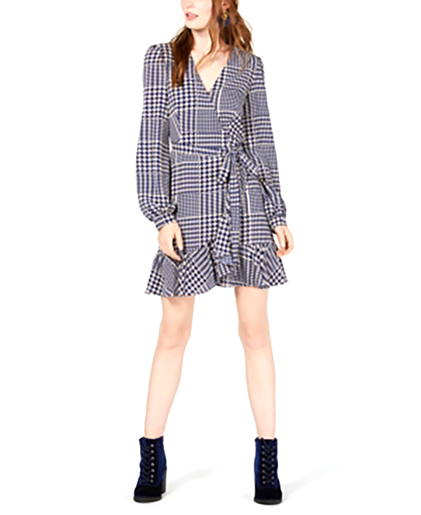 Yieldings Discount Clothing Store's Ruffled Wrap Dress by Leyden in Navy Houndstooth