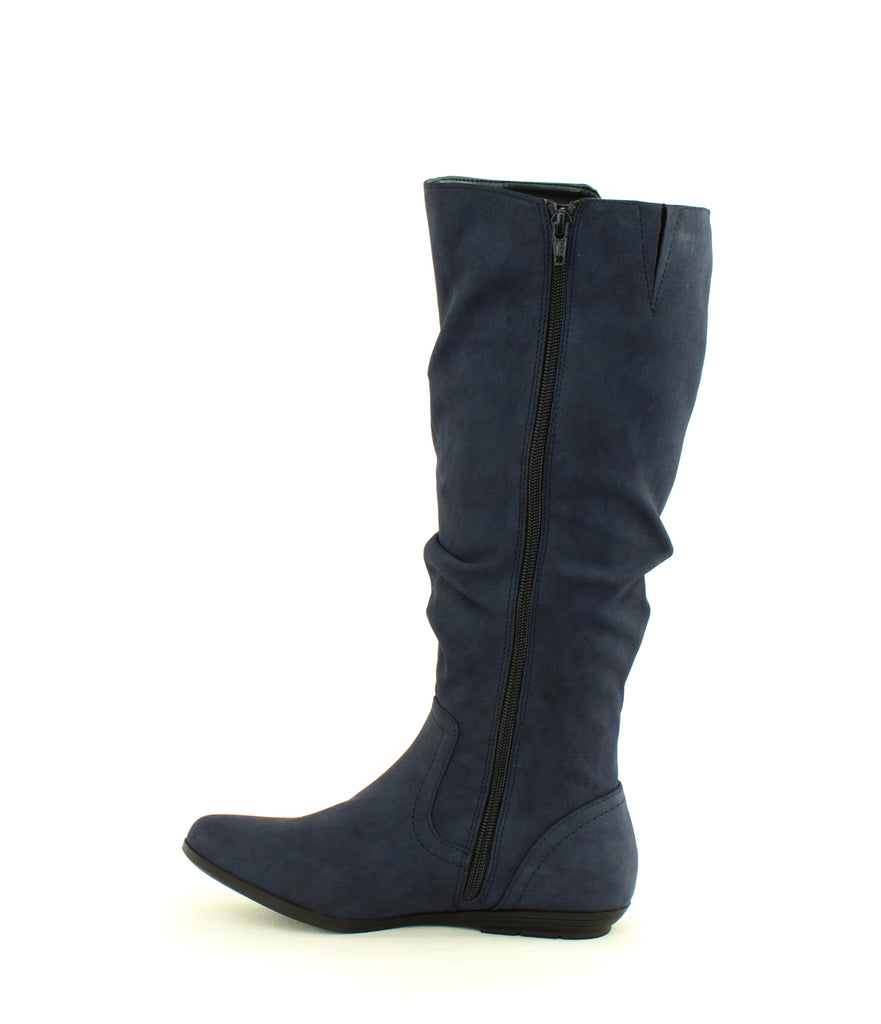 Yieldings Discount Shoes Store's Felisa Tall Boots by Cliffs By White Mountain in Navy Suede Smooth