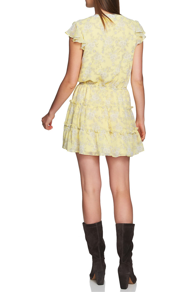 Yieldings Discount Clothing Store's Floral Print Tiered Ruffle Dress by 1.State in Sundew
