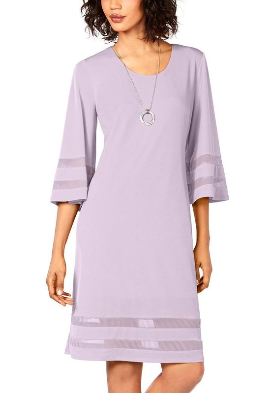 Yieldings Discount Clothing Store's Mesh-Inset Sheath Dress by JM Collection in Lilac Moon
