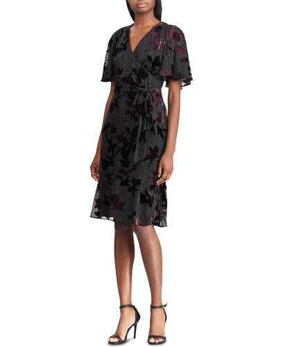 Yieldings Discount Clothing Store's Floral Burnout Velvet Dress by Lauren by Ralph Lauren in Grey/Cordovan