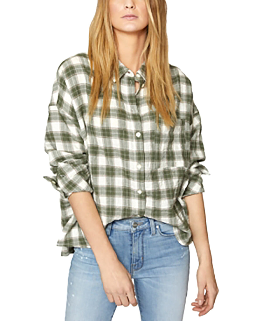 Yieldings Discount Clothing Store's Plaid Boyfriend Shirt by Sanctuary in Greenery Plaid