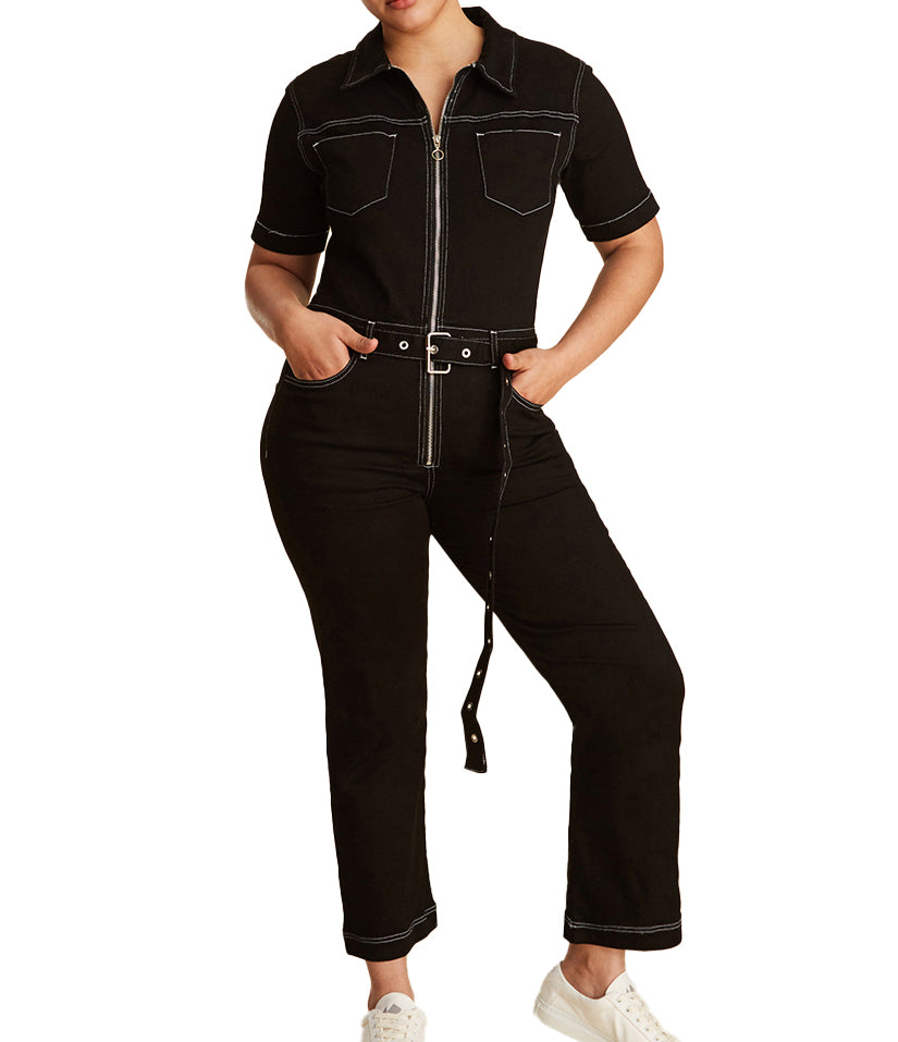 Yieldings Discount Clothing Store's PVG - Wide Leg Jumpsuit by Warp + Weft in Black