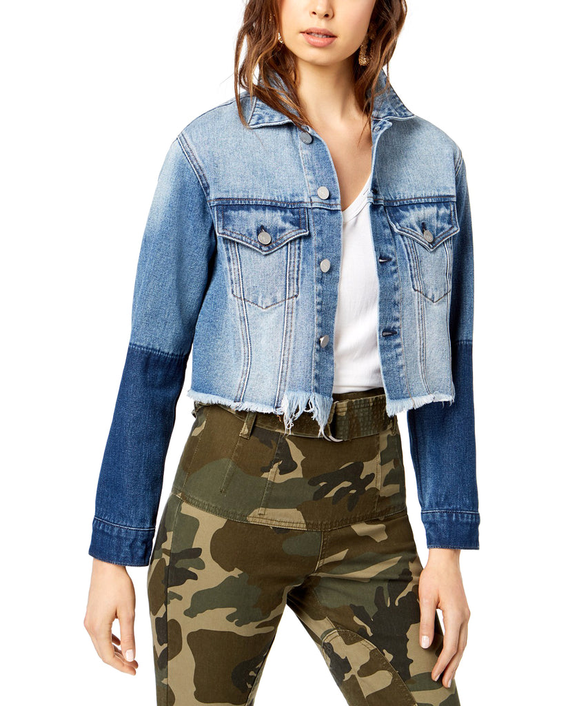 Yieldings Discount Clothing Store's Two-Toned Cropped Denim Jacket by Kendall + Kylie in Indigo