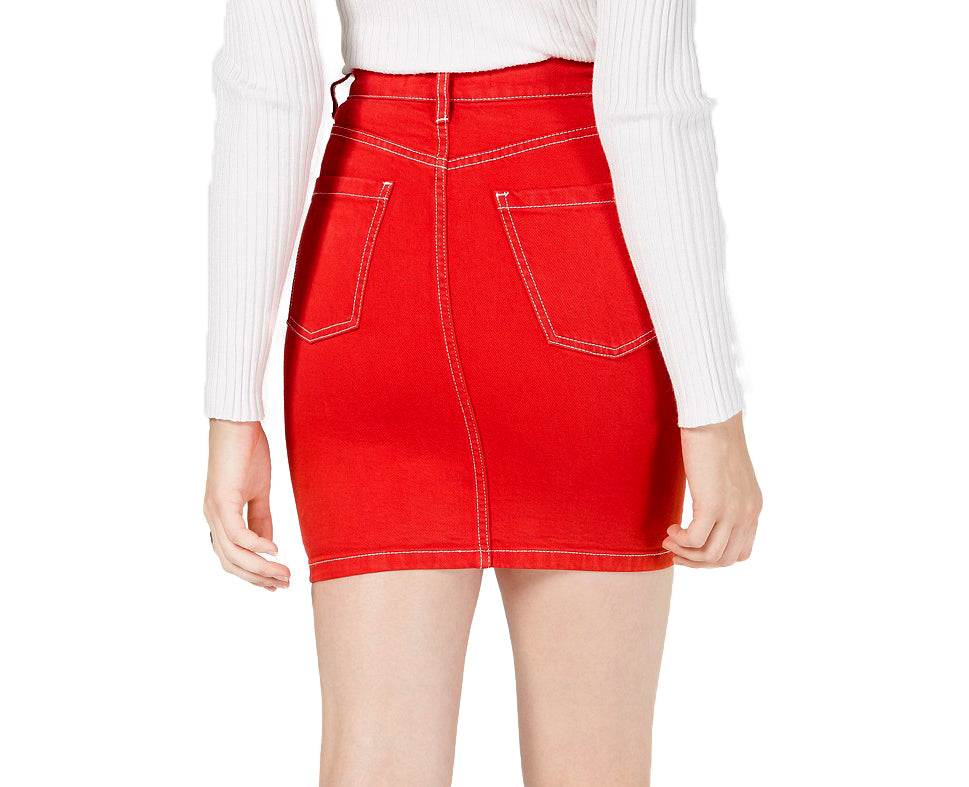 Yieldings Discount Clothing Store's Cotton Mini Jean Skirt by Kendall + Kylie in Red