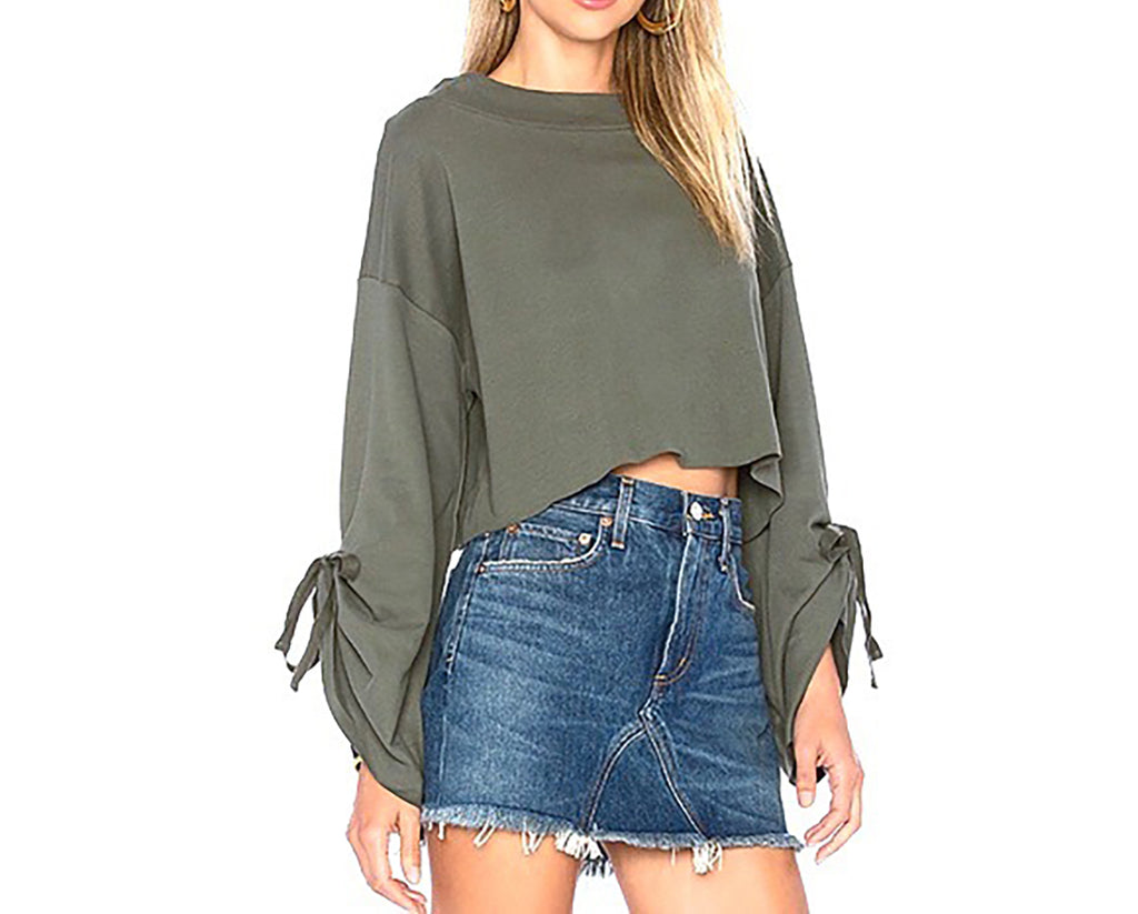 Yieldings Discount Clothing Store's Holala Cropped Cotton Sweatshirt by Free People in Moss