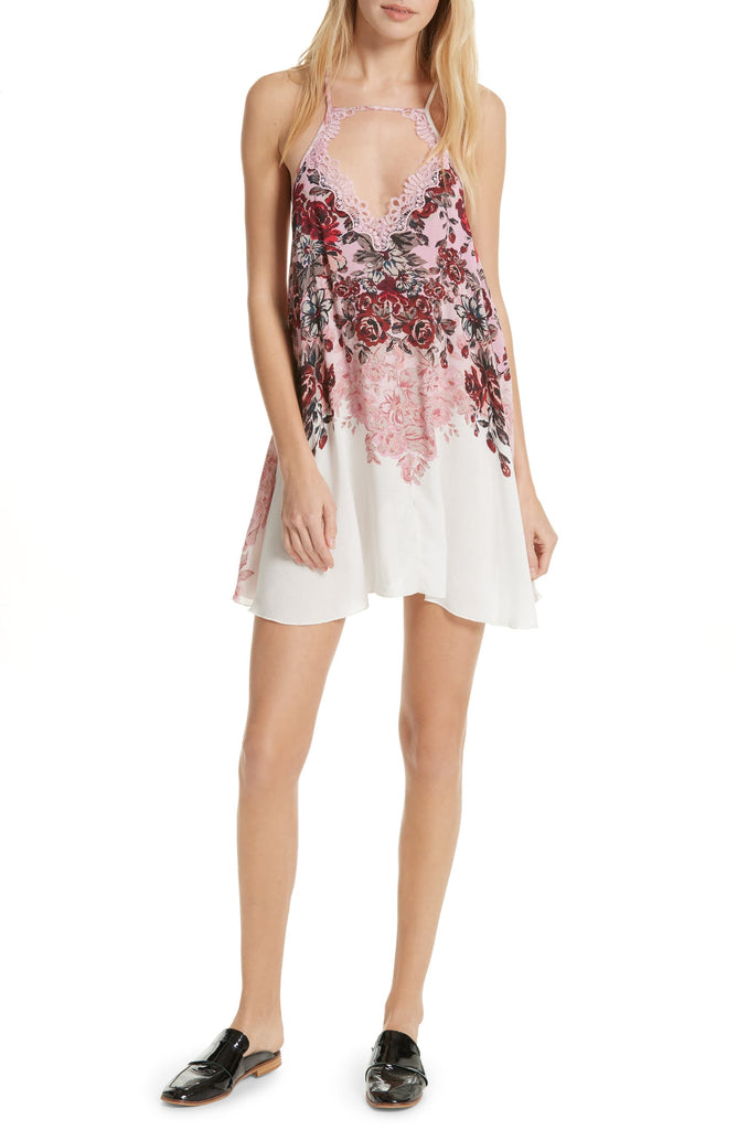 Yieldings Discount Clothing Store's Floral Haze Printed Slip On Mini Dress by Free People in Tea Combo