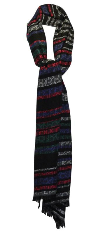 Yieldings Discount Accessories Store's Striped Calvin Logo Fringe Wrap by Calvin Klein in Teal