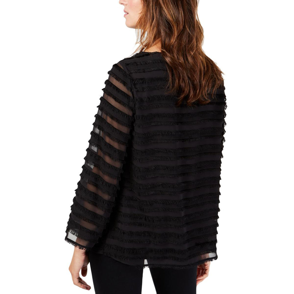Yieldings Discount Clothing Store's Striped Lantern Sleeve Blouse by Alfani in Deep Black